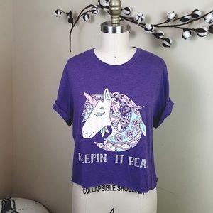 Tops - 5/$25 // Purple Keepin It Real Unicorn Cropped Tee